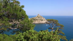 Cape Kapchik in Black Sea at sunny day, Crimea Stock Footage