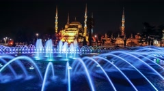 Hagia (Aya) Sophia -a historical monument in Istanbul at night. Timelapse view Stock Footage