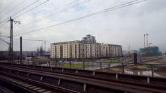 View from train window, graffiti on walls, Frankfurt am Main, Germany Stock Footage