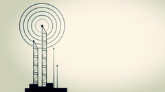 Antenna towers with radiowave signal animation - stock footage