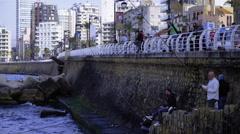 Medium shot, Beirut seashore - stock footage