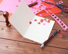 Making valentine card - stock photo
