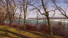 Niagara River Before Falls Spring  Stock Footage