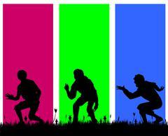 Vector silhouettes of men. - stock illustration