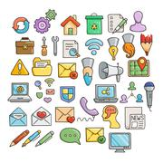 Set of Universal Doodle Icons. Bright Colors and Variety of Topics - stock illustration