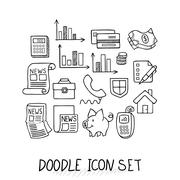 Set of Universal Doodle Icons. Variety of Topics Stock Illustration