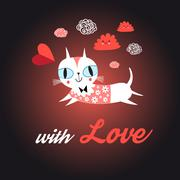 Love cat with heart - stock illustration