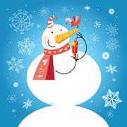 Funny snowman with a bird - stock illustration