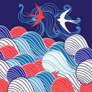 Abstract background with waves and swallows - stock illustration