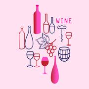 Wine elements set Stock Illustration