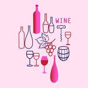 Wine elements set - stock illustration