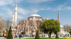 Hagia (Aya) Sophia - a historical monument in Istanbul.  Timelapse view Stock Footage