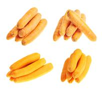 Piles of peeled and unpeeled carrots Stock Photos