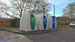 Recycling public containers, bins - France - zoom in  Stock Footage