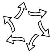 Centrifugal Arrows Contour Vector Icon - stock illustration