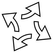 Circular Exchange Arrows Contour Vector Icon Stock Illustration