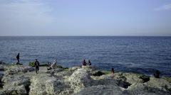 Refugees on the seashore in Beirut, Lebanon - stock footage