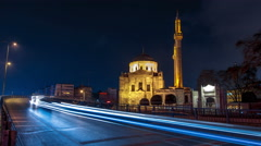 Valide Sultan Mosqueat night. Aksaray, Istanbul, Turkey. Timelapse Stock Footage