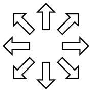 Expand Arrows Stroke Vector Icon - stock illustration