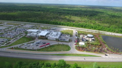 Turnpike Fort Drum service plaza aerial video shot drone Stock Footage