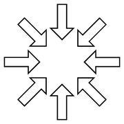Pressure Arrows Contour Vector Icon - stock illustration