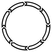 Rotation Circle Thin Line Vector Icon - stock illustration