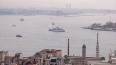 Very busy traffic of ships in the Strait of Bosporus in the morning Stock Footage