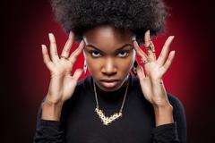 Young and beautiful black woman Stock Photos