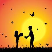 Vector silhouette of a children. - stock illustration
