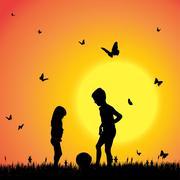 Vector silhouette of a children. Stock Illustration