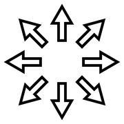 Expand Arrows Contour Vector Icon - stock illustration