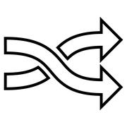 Mix Arrows Horizontal Thin Line Vector Icon - stock illustration
