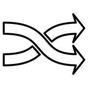 Mix Arrows Horizontal Contour Vector Icon Stock Illustration
