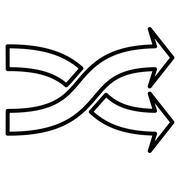Mix Arrows Horizontal Contour Vector Icon - stock illustration