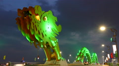 Close up from the head of the Dragon bridge in Da Nang, Vietnam Stock Footage