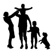 Vector silhouette of a family. - stock illustration