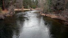Merced River Flowing Towards Camera On Bridge Yosemite California - stock footage