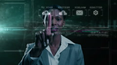 Stock Video Footage of African American female using online data transfer cloud touch screen technology