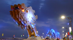 Time lapse from the head of the Dragon bridge in Da Nang, Vietnam Stock Footage