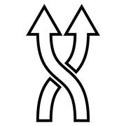 Stock Illustration of Shuffle Arrows Up Contour Vector Icon