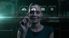 Caucasian American female using data transfer cloud touch screen technology Stock Footage