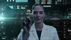 Caucasian American female scientist analysing blood using touchscreen technology - stock footage