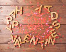 Happy Valentine's Day composition - stock photo
