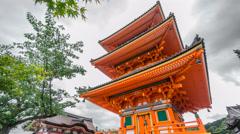 Time Lapse of Kiyomizu Dera temple in Kyoto, Japan Stock Footage