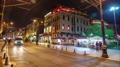 Night traffic in the historic district of Istanbul. Timelapse Stock Footage