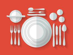 Serving cutlery flat Stock Illustration