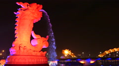Time lapse from the Ca Chep Hoa Rong fountain with the dragon bridge Stock Footage