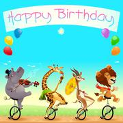 Happy Birthday card with funny wild animals on unicycles - stock illustration
