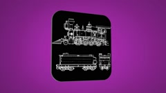 Vector Map intro - Locomotive - Transition Blueprint - purple 02 Stock Footage