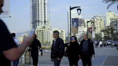 People at the Marina Sidewalk in Beirut, Lebanon - stock footage